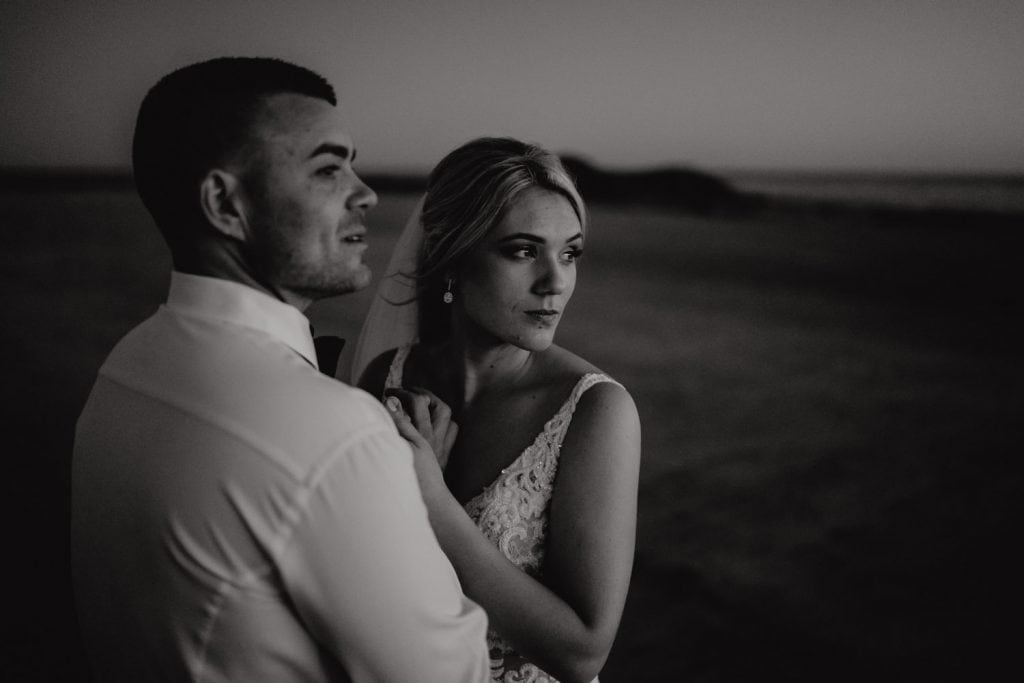 intimate black and white image of wedding couple