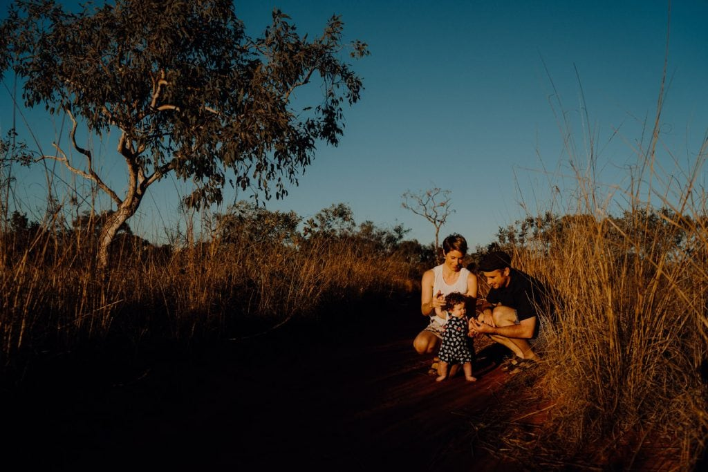 baby boy starts to walks during Broome Family Photographer Session in Minyirr Park