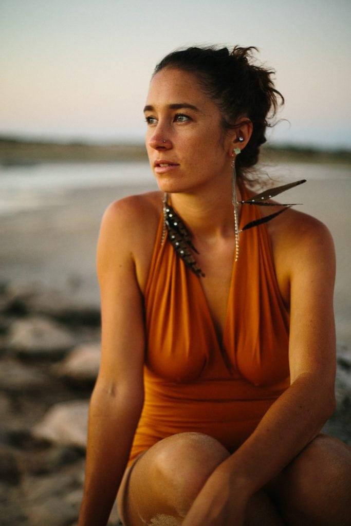 beautiful young woman in vintage swim wear