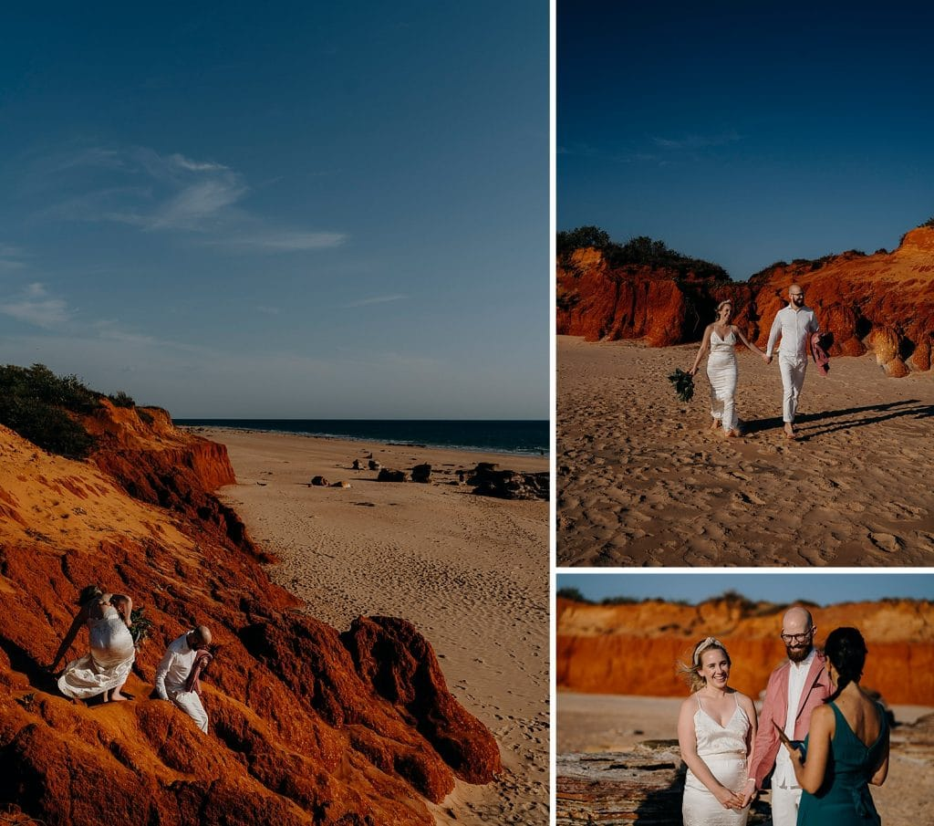 wedding couple makes their way down a red cliff to a secluded Broome beach to elope