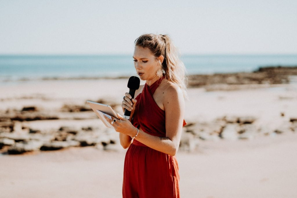marriage celebrant Liz Quicke on Entrance Point beach in Broome
