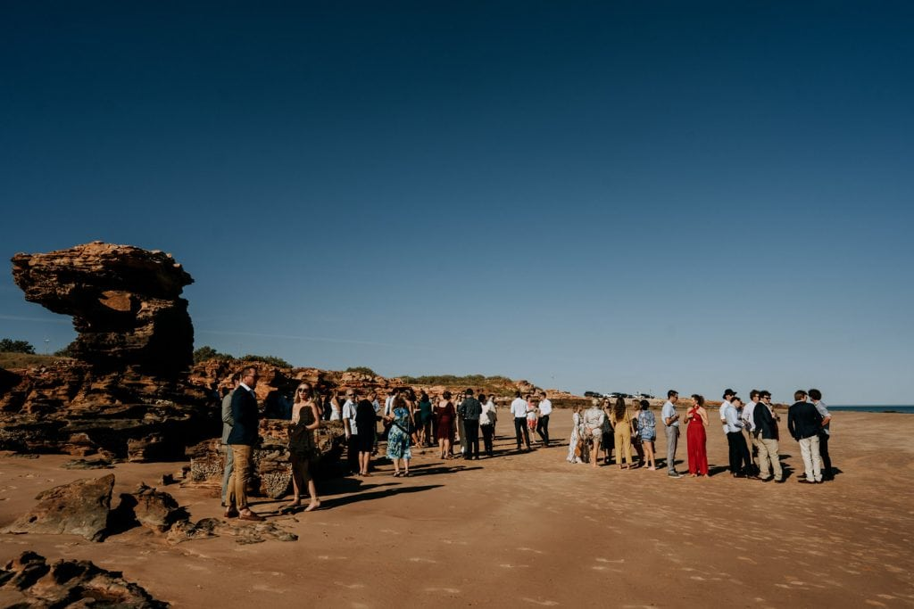wedding guests gathering on the beach in Broome for Entrance Point Wedding