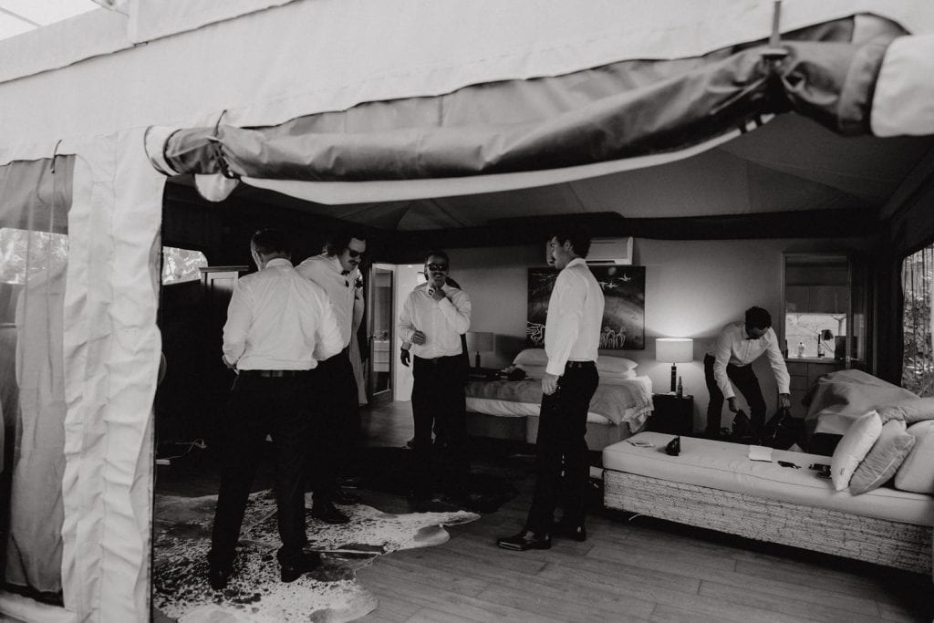 groom and his groomsmen are getting ready for Broome Entrance Point Wedding at Billi Resort safari tent
