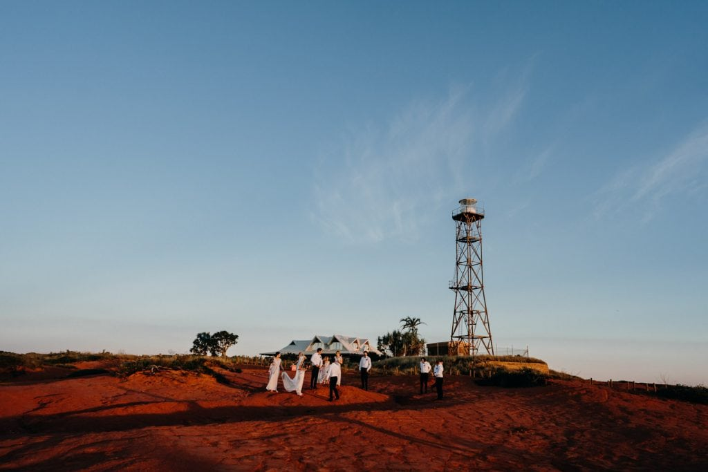 bridal party at Gantheaume Point in Broome with lighthouse in background