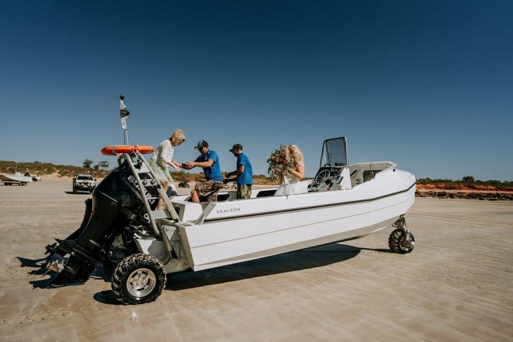 Broome catamaran tender shuttles bride and her mother to her Broome catamaran wedding