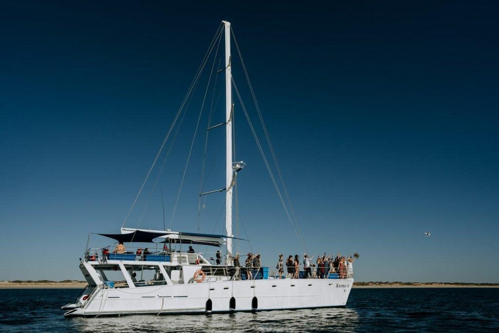 wide shot of the Karma IV Broome catamaran