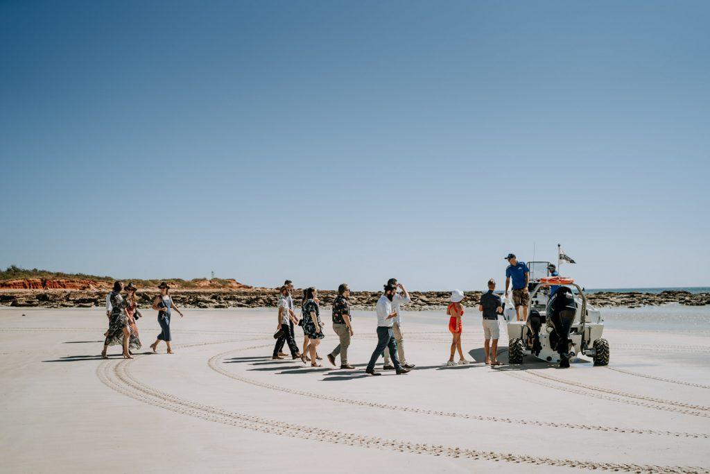 group of people embark on Sealegs Karma IV shuttle boat to get to Broome catamaran