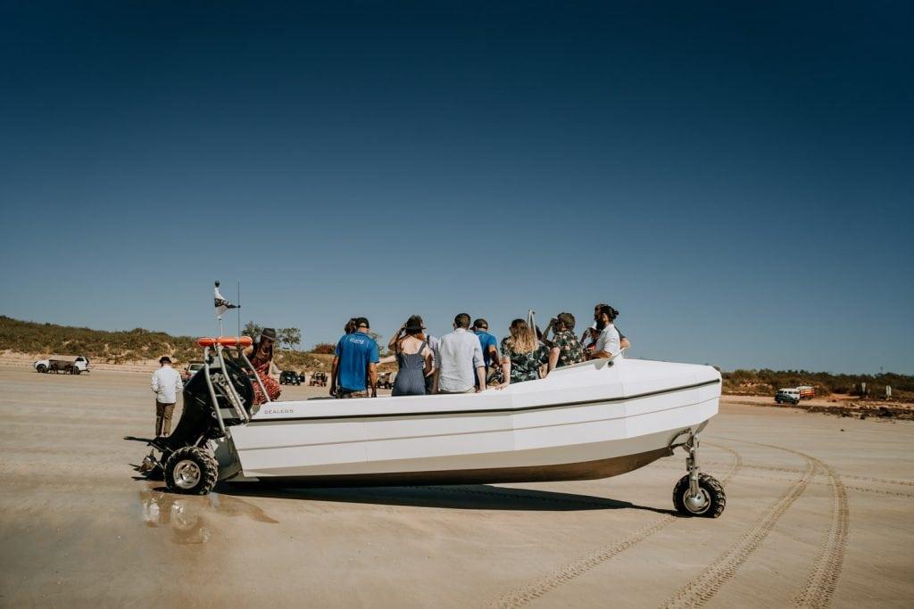 Broome catamaran tender shuttles wedding guests to Karma IV catamaran wedding