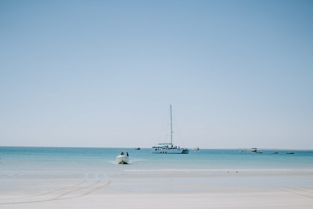 Broome catamaran anchored off Cable Beach in Broome