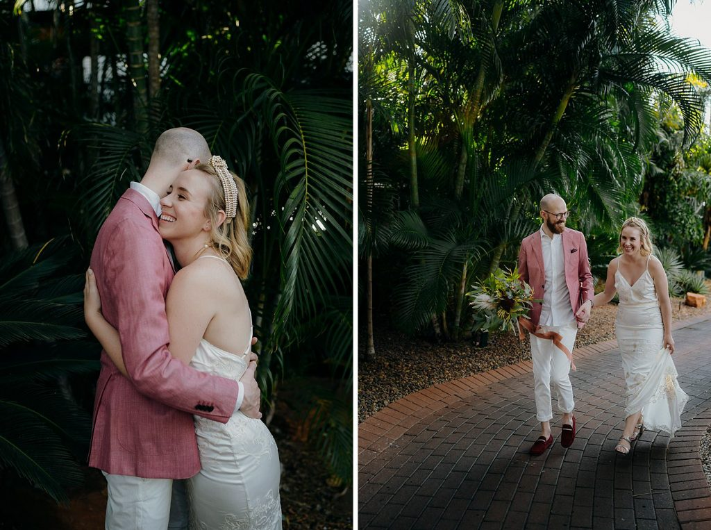 young wedding couple in tropical garden in Broome just before their elopement wedding