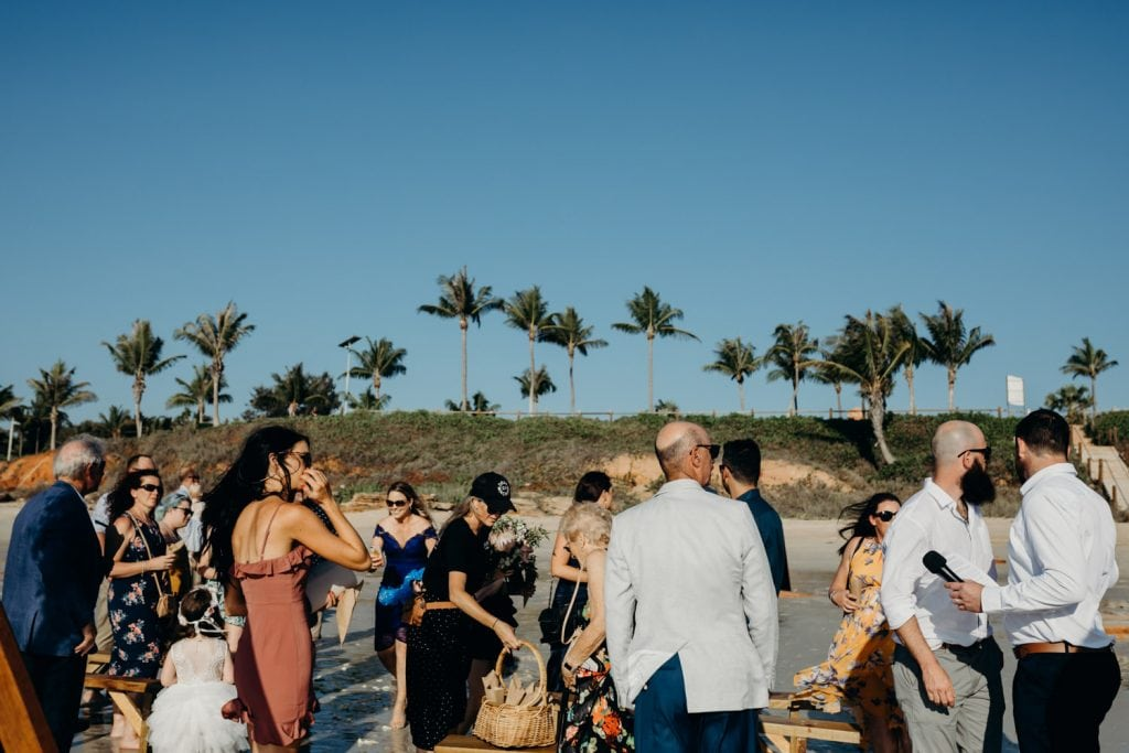 group of people at a beach wedding in Broome