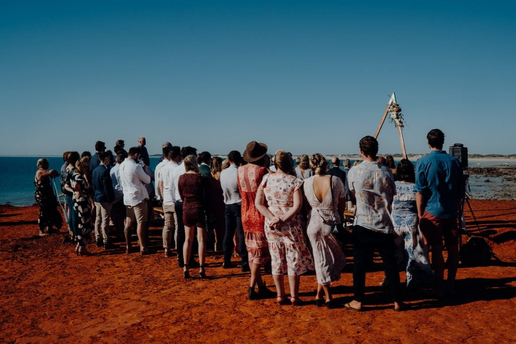 guests watching wedding ceremony at Gantheaume Point