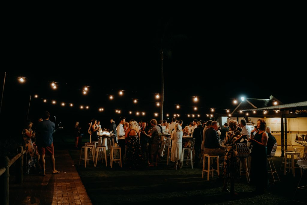 wedding reception at Broome Surf Lifesaving Club with festoon lighting